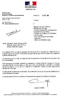 Courrier de M Laurent Cayrel, préfet du Var, concernant une proposition de l'association VIVA, pour une Opération d'Intérêt National (OIN)